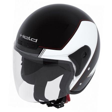 Held motocyklová otvorená (jet) prilba  HEROS čierna/biela vel.M (57-58cm)