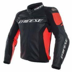 Dainese pánska kožená bunda na motorku RACING 3 čierna/červená-fluo