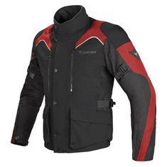 Dainese pánska enduro moto bunda  TEMPEST D-DRY čierna/čierna/červená, textilné