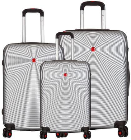 Sirocco T 1157/3 ABS utazó bőrönd készlet, ezüst