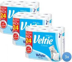 Veltie toaletni papir 3 x 24 role, 2-slojni, bijela