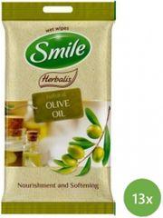 SMILE Herbalis Vlhčené obrúsky Olivový olej 13x 10 ks