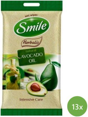 SMILE Herbalis Vlhčené ubrousky Avokádový olej 13x 10 ks