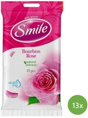 SMILE Chusteczki nawilżane Daily Bourbone Rose 13 x 15 szt.