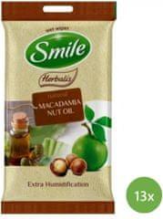 SMILE Herbalis Vlhčené obrúsky Makadamiový olej 13x 10 ks