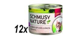 Schmusy hrana za mačke Nature, teletina in perutnina, 12 x 190 g