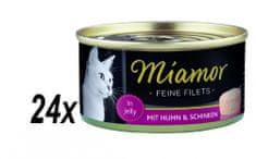 Finnern hrana za mačke Miamor, piletina i šunka, 24 x 100 g
