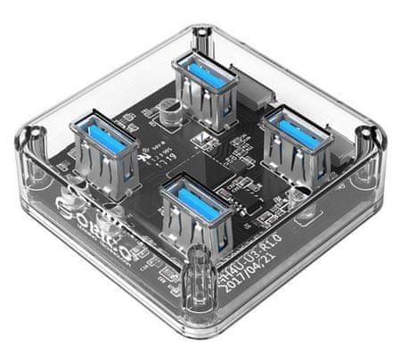 Orico USB vozlišče, 4 vhodi, USB 3.0, prozorno (MH4U)