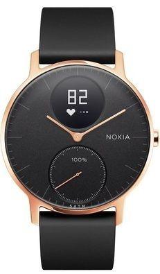 Nokia pametna ura Steel HR - Rose Gold w/ Black Silicone wristband, zlato črna, 36 mm