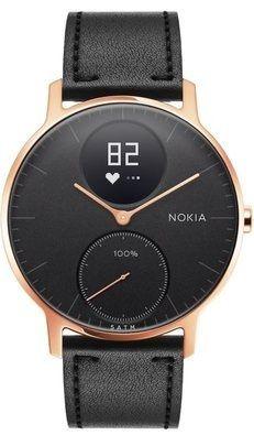 Nokia pametna ura Steel HR - Rose Gold w/ Black Leather + Black Silicone wristband, zlato črna, 36 mm