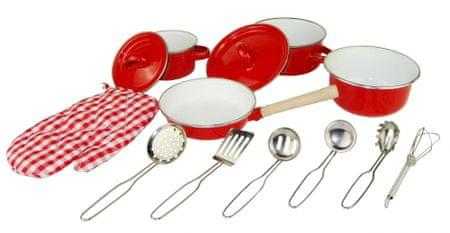 Woody otroški set posode in kuhinjskih pripomočkov, rdeč