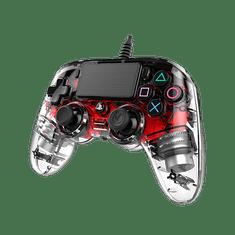 Nacon Wired Compact Controller / PS4, průhledný červený(ps4hwnaconwicccred)