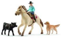Schleich Set westernová jezdkyně se zvířátky 42419
