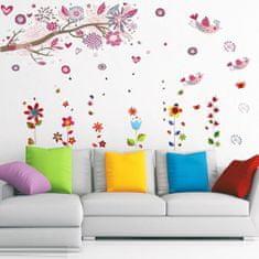 Walplus stenska nalepka, Cvetje in ptice