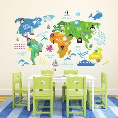 Walplus stenska nalepka, Zemljevid sveta