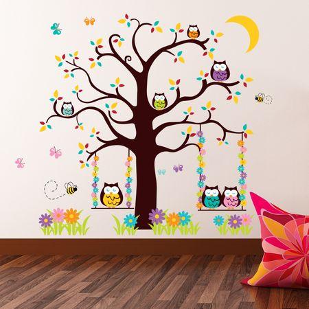 Walplus stenska nalepka, Sovice na drevesu
