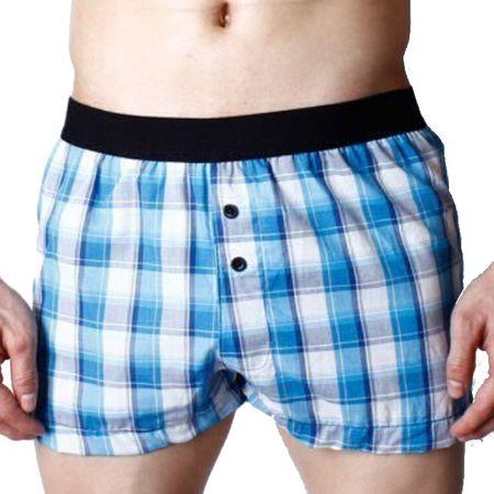 Pink Hero volné trenýrky kostičkované modro-bílé Super Body - Velikost: S