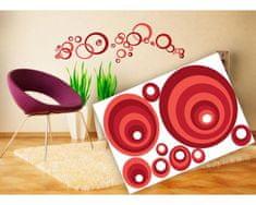Dimex Dekoračné nálepky na stenu Červené kruhy - 50 x 70 cm