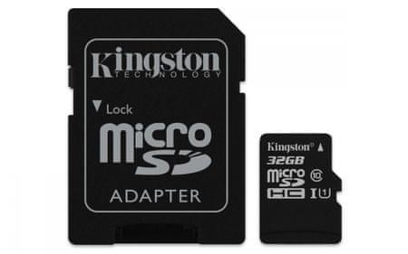 Kingston Micro SDHC Canvas Select 32GB 80MB/s UHS-I + SD adaptér (SDCS/32GB)