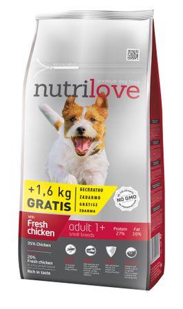 Nutrilove hrana za odrasle pse majhnih in srednjih pasem Fresh, piščanec 8kg + 1,6kg gratis