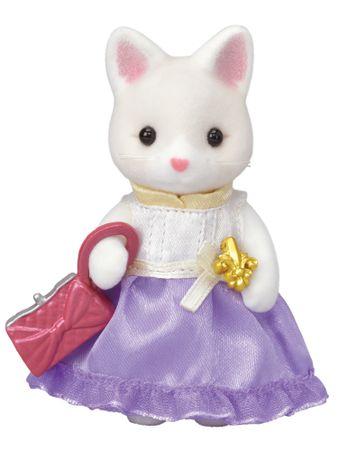 Sylvanian Families Hodvábna mačka vo fialových šatách s kabelkou 6003
