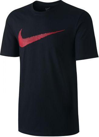 Nike moška majica M NSW Tee Hangtag Swoosh Black Sport Red, črna/rdeča, XS