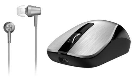 Genius mysz bezprzewodowa MH-8015 + słuchawki douszne - srebrne (31280002401)