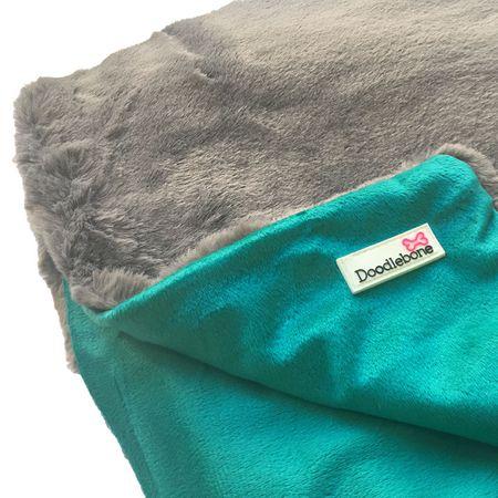 Doodlebone luksuzna mehka odeja za psa Blue-Green, modro-zelena