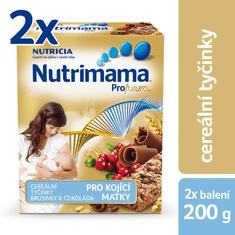 Nutrilon Nutrimama Cereálne tyčinky brusnica/čokoláda 2 × 200 g