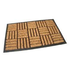 FLOMAT Gumová kokosová vstupní rohož Squares - Lines - 75 x 45 x 2 cm