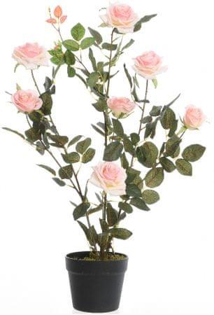 Kaemingk Růžový keř v květináči, růžový, 80 cm