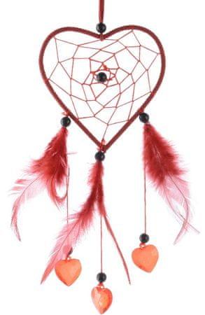 Kaemingk Lapač snov srdce 26 cm, červená