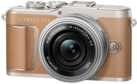 Olympus digitalni fotoaparat E-PL9 + 14-42 EZ, smeđi