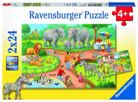 Ravensburger sestavljanka Dan v ZOO, 2 x 24 delov
