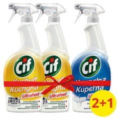 Cif Ultrafast Kuchyň čistící sprej 2 x 750 ml + Ultrafast Koupelna 750 ml