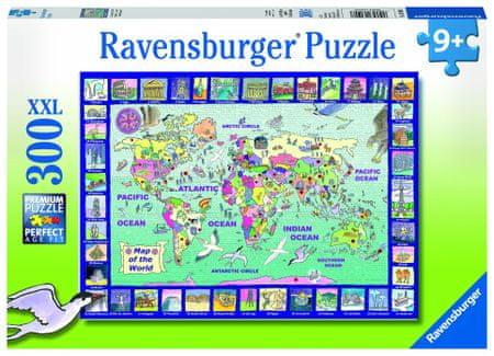 Ravensburger puzzle mapa świata 300 elementów