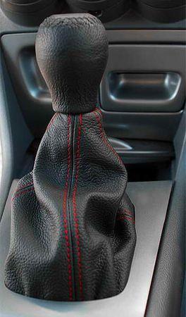 MAMMOOTH Kryt (manžeta) radiacej páky, kožený, čierny s červeným prešitím, univerzálna veľkosť