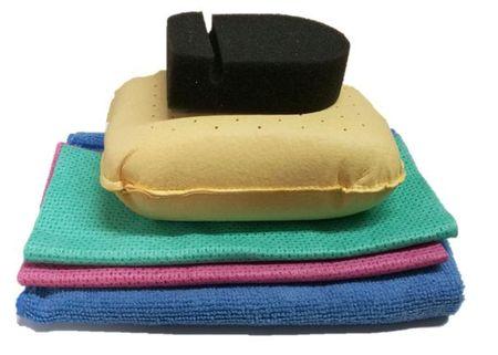 KAJA Súprava na umývanie auta, 5 ks: 1 x utierka mikrovlákno, 2 x savá utierka, 1 x špongia na sklo, 1x huba na mierky hladiny oleja