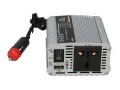 WHITENERGY Menič napätia do auta 12/230 V, 150 W s USB