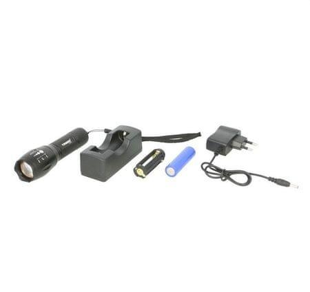 TIROSS Ruční nabíjecí LED svítilna, 1 LED dioda, 10 W, Li-Ion 2000 mAh, voděodolná