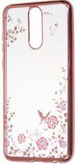 Silikonski ovitek z rožicami za Huawei P10 Lite, roza