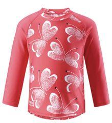 Reima Detské tričko s dlhým rukávom Borneo - Bright red UV 50+