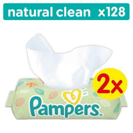 Pampers vlažilni robčki Natural Clean, 2 x 64 kosov