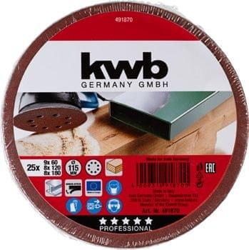 KWB samoljepljivi brusni papir za drvo i metal, 25 komada različite granulacije (491870)