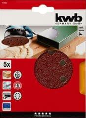 KWB samolepilni brusni papir za les in kovino, Ø 125 mm, 80 GR, 5 kosov (491908)