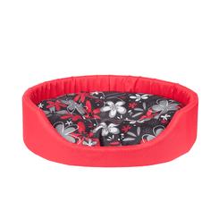 Argi ovalna blazina za psa, z blazino, rdeča z vzorci