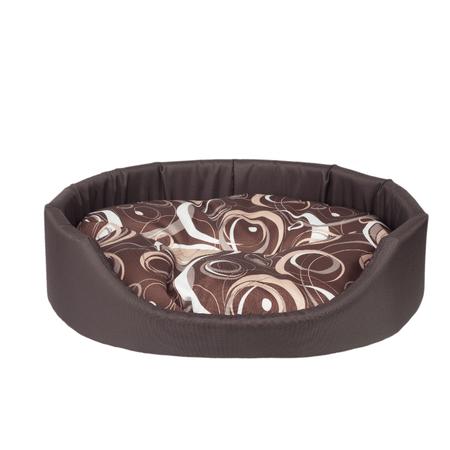Argi ovalna blazina za psa, z blazino, rjava z vzorci, M