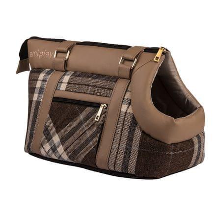 Argi torba za psa iz poliestra Kent, svetlo rjava z vzorci