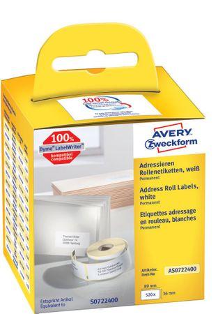 Avery Zweckform etikete na kolutu AS0722370, za Dymo in Seiko termalne tiskalnike, 36 x 89 mm