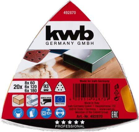 KWB samoljepljivi brusni papir za drvo i metal, 20 komada različite granulacije (492870)